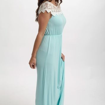 Mint Green Lace Top Maxi Dress