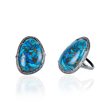 Silver Diamond Mohave Turquoise Ring - Size 8 - ESDR9022