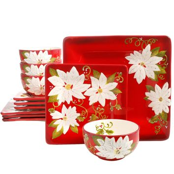 Laurie Gates Pleasant Poinsettia 12 Piece Ceramic Dinnerware Set