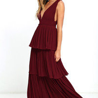 Gently Adrift Wine Red Maxi Dress