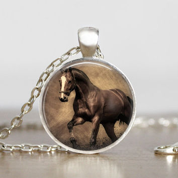 vintage horse pendant, brown horse necklace, necklace for horse lovers, horse jewelry, horse art, horse decor, horse mom, animal lovers