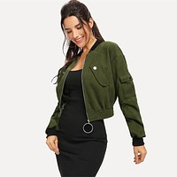 Army Green O-Ring Zip Up Flap Pocket Stand Collar Crop Button Jacket  Casual Modern Lady Women Coat Outerwear