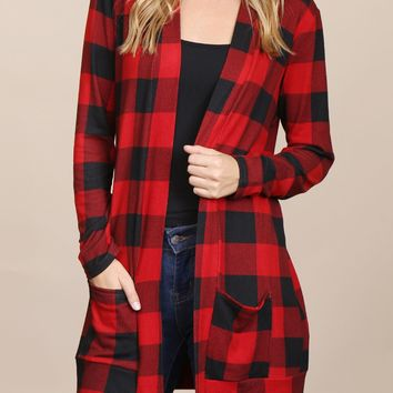 Long Sleeved Red & Black Plaid Pocket Cardigan
