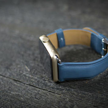Apple Watch Band, iwatch, iwatch band,apple watch band,apple watch band 38mm 42mm,apple watch,apple watch leather band Made is USA - Blue