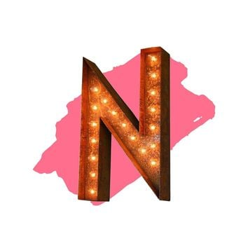 "18"" Letter N Lighted Vintage Marquee Letters (Modern Font/Rustic)"