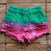 Watermelon Tie dye Shorts Denim Tye Dye High Waisted Jean Pastel Rainbow Colorful Shorts