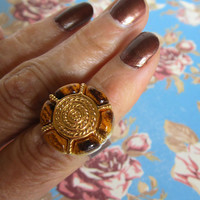 Button Ring - Copper Metal Base with Tortoise Shell  and Gold Vintage Button