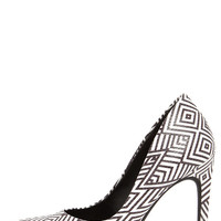 Jessica Simpson Brynn White and Black Print Platform Pumps