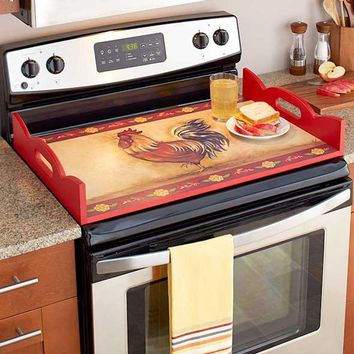 Stove Top Burner Cover Protector Serving Tray Wood Decorative