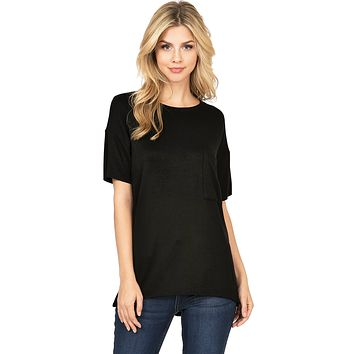 Boxy Fleece Lined Pocket Tee
