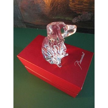 Baccarat France Crystal Contemporary Signature Dog Paperweight