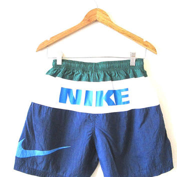 Vintage 1990s NIKE SWOOSH Spell Out Swim Trunks Athletic Shorts Kids Sz XL (18-20) Adult Sz S