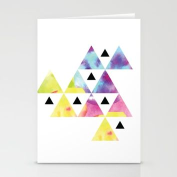 Watercolor Triangle art #society6 Stationery Cards by Designlovelab