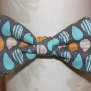 Grey Orange & Teal Drops Adjustable Bowtie (Baby / Infant / Toddler Boy)