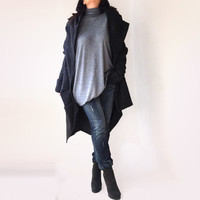Asymmetryc  Black Hooded Coat / Warm Hooded Coat / Cashmere Blended / Wool Cape Coat / Thumb Hole Sleeves / Italian Wool