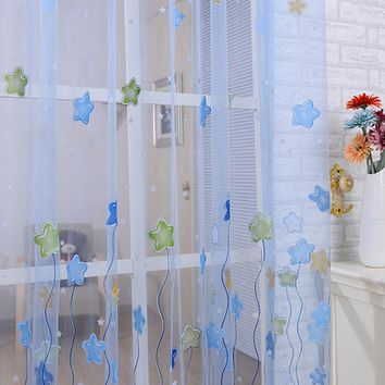 Lovely Cartoon Star Print Window Curtains Tulle Voile Sheer Curtains for Kids Girls bedroom living room 1PCS Home Textile