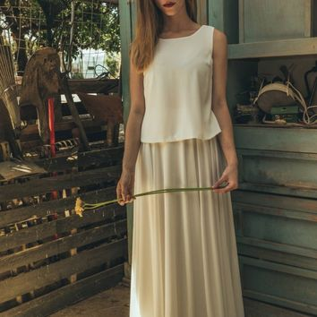 Minimalist wedding dress, 2017 new wedding dress, off white wedding dress, Contemporary wedding dress, Jasmin calla offwhite