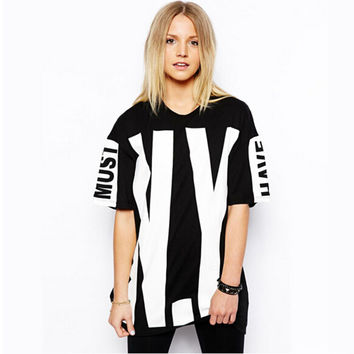 2016 Summer New Street Style NY Big Letters Printed Black Round Collar Short Sleeve Plus Size Women 's T-shirt
