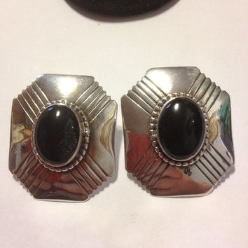 Onyx Sterling Earrings Silver 925 Etched Stamped Black Stones Vintage Southwestern Tribal Native American Boho Cabochon 60s Jewelry Gift