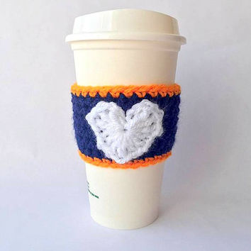 Denver Broncos Crochet Coffee Cozy, Denver Broncos, Crochet Coffee Cozy, Coffee Cozy, Coffee Sleeve, Crochet Coffee Sleeve, Broncos cup cozy