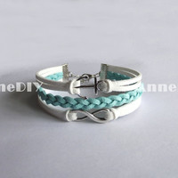 Infinity Bracelets - anchor bracelets - mint bracelet with Infinity charm, girlfriend birthday gifts
