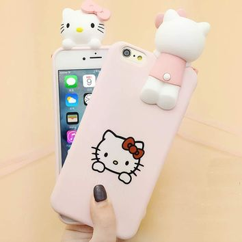 Hot Japan Fashion Cute 3D Cartoon Hello Kitty Cat for iphone 6 Case Soft Silicone Protective Case for iPhone 7 7plus 6s 6s Plus
