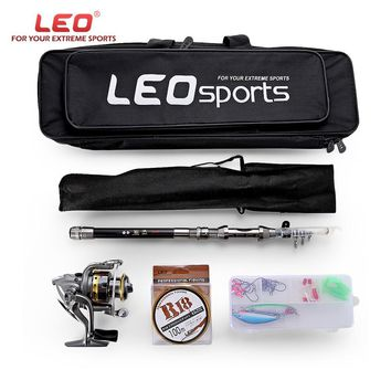 LEO Outdoor Fishing Spinning Reel Rod Kit Set with Fish Line Lures Hooks Bag Fishing Reel +Rod+Fishing Line+Accessories+Bag