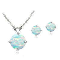 Sterling Silver Created White Opal Round Solitaire Necklace & Stud Earring Set
