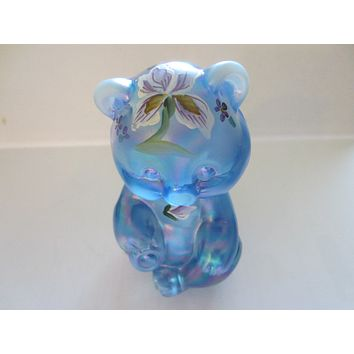 Fenton Blue Glass Teddy Bear Iridized Hand Painted Signed W Watson
