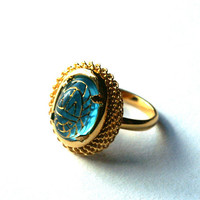 Aqua Blue Adjustable Ring with Vintage Glass Cabochon with Egyptian Scarab Design