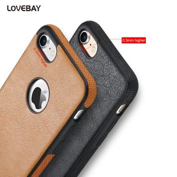 Lovebay For iPhone 7 Case PU Leather Phone Protective Cases For iphone 6 6s Plus 5 5s SE Soft TPU Back Cover Capa Coque Fundas