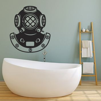 Vinyl Wall Decal Retro Underwater Diving Helmet Sea Style Stickers Unique Gift (1650ig)