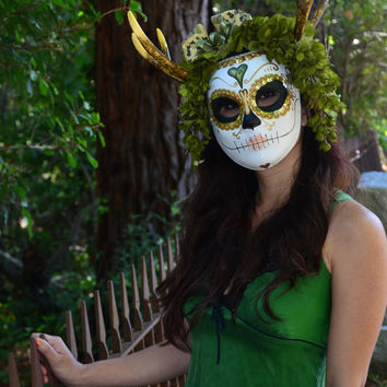 Eve - Nymph Day of the Dead Mask - woodland fairy Dia de los muertos Calavara moss Antlers horns Sugar Skull