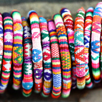 RainbowTextile Bracelets- pattern, peru, red, blue, green, yellow, amazon, south american, palomita, brighton
