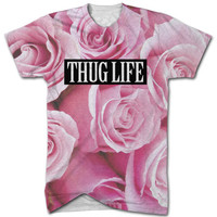 Thug life roses all over print t shirt