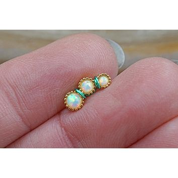 3 White Opal Gold Cartilage Piercing, Helix Earring