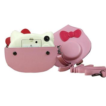 New Camera Case Bag With Bowknot For Fujifilm Instax Mini Hello Kitty Camera With Shoulder Strap