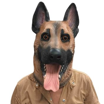Dog Head Latex Mask Full Face Adult Mask Breathable