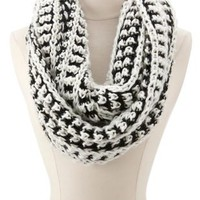 Chunky Two-Tone Infinity Scarf by Charlotte Russe - Black Combo