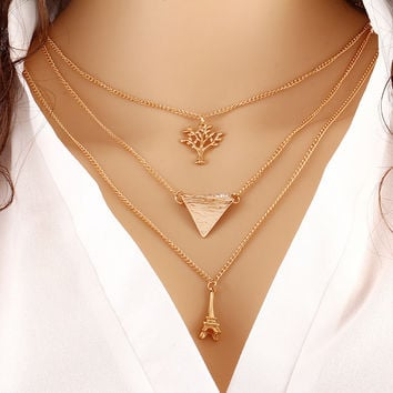 N116 Multilayer Clavicle Necklace Tower Triangle Tree Women's Fashion Jewelry Colar European Multi Layer Chains Charm Beads 2017