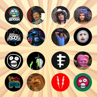 THE MIGHTY BOOSH Set of 16 - 1 Inch Pinback Buttons or Magnets