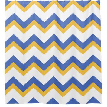 Blue and Gold Chevron Zig Zag Pattern Shower Curtain