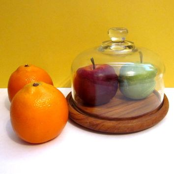 Vintae Cheese Tray, Glass Dome, Teak Wood Block