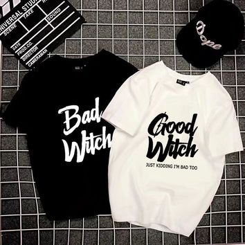 Couple T-shirt BAD WITCH GOOD WITCH Letter Printed Top Tee Shirt Femme Casual Female best Friends sister Bff T-shirt Tops Tees