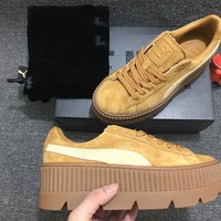 [FREE SHIPPNG] Puma Fenty Rihanna Cleated Creeper Platform Oatmeal Golden Brown Suede