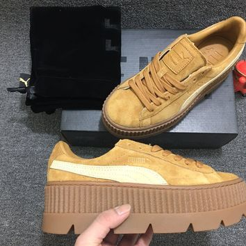 [FREE SHIPPNG] Puma Fenty Rihanna Cleated Creeper Platform Oatmeal Golden Brown Suede 366268 02