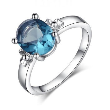 Fashion women Oval Cut Blue Topaz Silver Engagement Wedding Bands Bride Rings Unique Jewelry Accessories = 1930121540