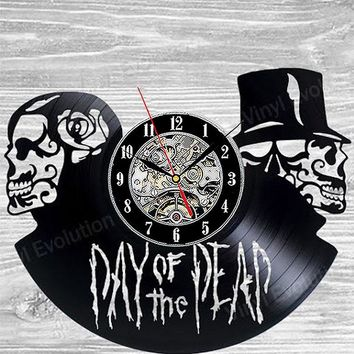 Skull Hollow CD Record Wall Clock Day of the Dead Art Vinyl Record LED Clock Gift Room Modern Home Record Vintage Decoration