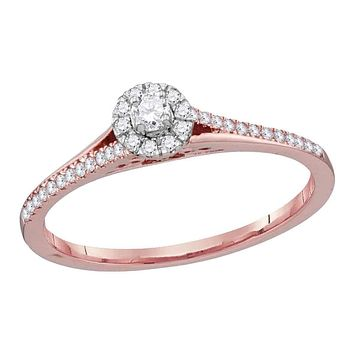 10k Rose Gold Women's Diamond Solitaire Bridal Ring - FREE Shipping (US/CA)