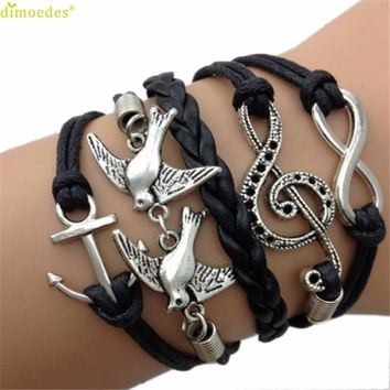 Diomedes Newest Creative Antique Silver Infinity Double Birds Note Charms Leather Wrap Bracelet